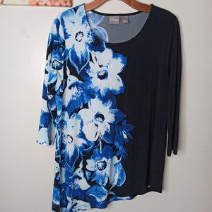 CHICO'S Top Black Blue Flowers Long Sleeve